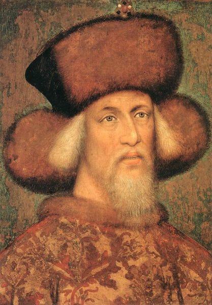 Sigismund de Luxemburg (n. 14 februarie 1368, Nürnberg - d. 9 decembrie 1437, Znaim, Moravia, azi Republica Cehă) a fost principe elector de Brandenburg din 1378 până în 1388 şi din 1411 până în 1415, rege al Ungariei şi Croaţiei din 1387, rege al Boemiei din 1419, rege al Germaniei din 1411 şi împărat romano-german din 1433 până la moartea sa în 1437 - (Sigismund, la aproximativ 50 de ani, portret atribuit lui Pisanello) foto preluat de pe ro.wikipedia.org-