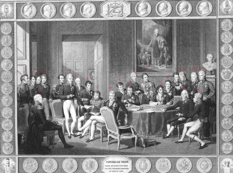 Delegaţii Congresului de la Viena, (18 septembrie 1814 - 9 iunie 1815) după o pictură a lui Jean-Baptiste Isabey ( 1. Arthur Wellesley 1. Arthur Wellesley, 1st Duke of Wellington 2. Joaquim Lobo Silveira, 7th Count of Oriola 3. António de Saldanha da Gama, Count of Porto Santo 4. Count Carl Löwenhielm 5. Jean-Louis-Paul-François, 5th Duke of Noailles 6. Klemens Wenzel, Prince von Metternich 7. André Dupin 8. Count Karl Robert Nesselrode 9. Pedro de Sousa Holstein, 1st Count of Palmela 10. Robert Stewart, Viscount Castlereagh 11. Emmerich Joseph, Duke of Dalberg 12. Baron Johann von Wessenberg 13. Prince Andrey Kirillovich Razumovsky 14. Charles Stewart, 1st Baron Stewart 15. Pedro Gómez Labrador, Marquis of Labrador 16. Richard Le Poer Trench, 2nd Earl of Clancarty 17. Wacken (Recorder) 18. Friedrich von Gentz (Congress Secretary) 19. Baron Wilhelm von Humboldt 20. William Cathcart, 1st Earl Cathcart 21. Prince Karl August von Hardenberg 22. Charles Maurice de Talleyrand-Périgord 23. Count Gustav Ernst von Stackelberg  - foto preluat de pe en.wikipedia.org