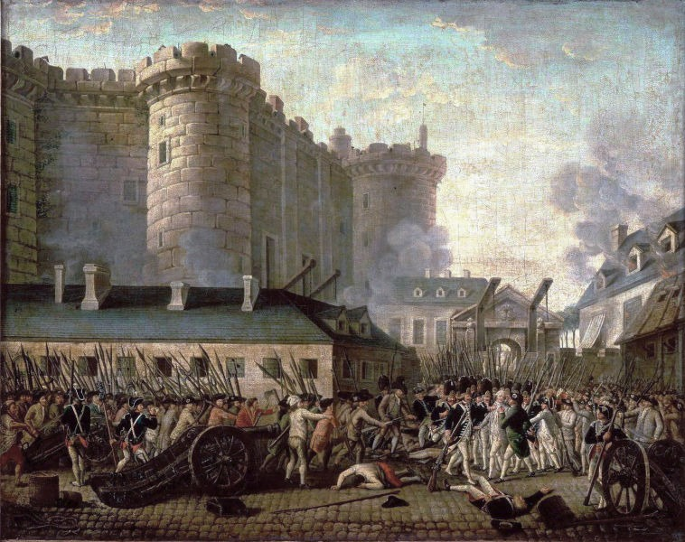 Arrest of de Launay by an anonymous artist. A 2013 analysis of the Bastille dimensions showed that it did not tower over the neighborhood as was depicted in the paintings but was more of a comparable height to other buildings in the neighborhood - foto preluat de pe en.wikipedia.org