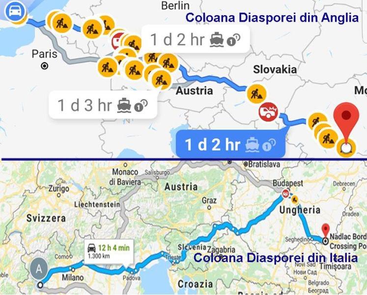 10 august coloane auto din diaspora (Sursa: Facebook)