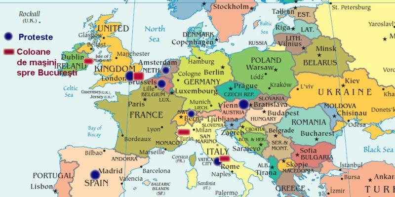 10 august: Harta protestelor Diasporei româneşti din Europa (actualizată la 9 august)