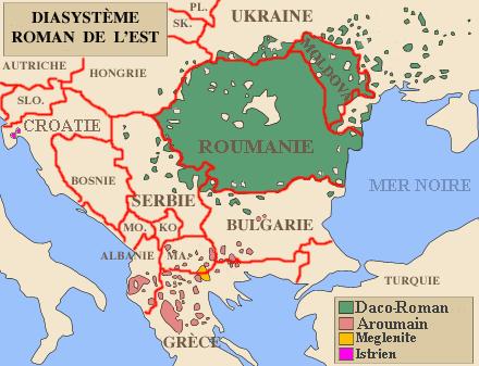 """Răspândirea celor patru """"limbi romane orientale"""" sau """"dialecte ale limbii române"""" (conform celor două puncte de vedere prezente printre lingvişti) - foto preluat de pe ro.wikipedia.org"""