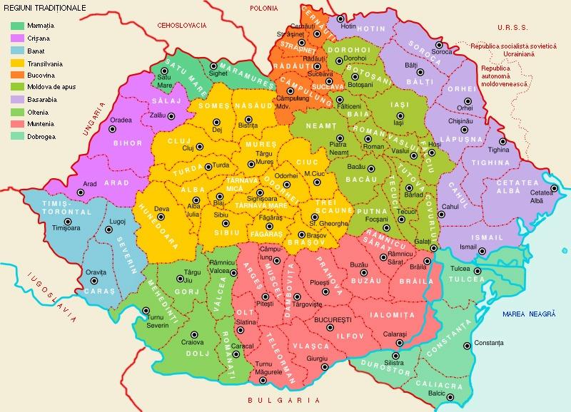 Harta României interbelice, pe care Dobrogea este în colorată în albastru-verde - foto preluat de pe ro.wikipedia.org