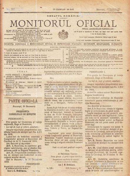 Unirea Bucovinei cu România (15/28 noiembrie 1918) - foto preluat de pe www.facebook.com