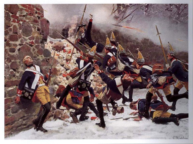 Bătălia de la Leuthen (5 decembrie 1757) Parte din Războiului de Șapte Ani (Storming of the breach by Prussian grenadiers. Painting by Carl Röchling) - foto preluat de pe en.wikipedia.org
