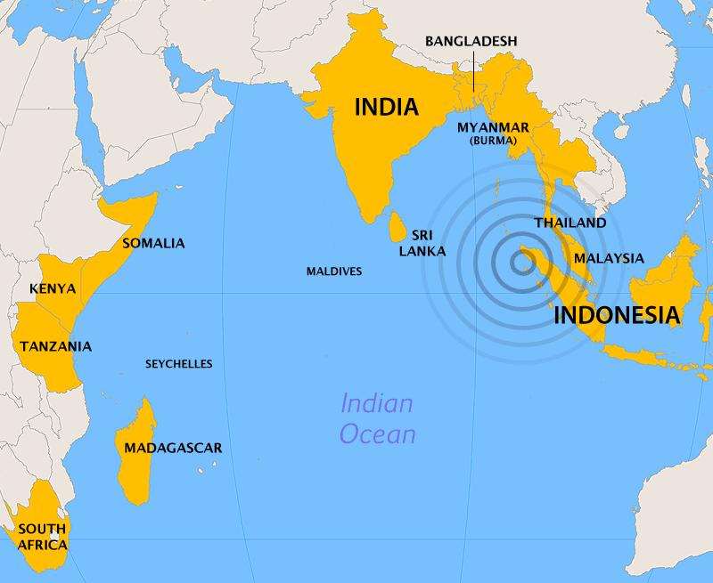 Cutremurul din Oceanul Indian din 26 decembrie 2004 - (Țări afectate de cutremur și valurile tsunami care au urmat) foto preluat de pe ro.wikipedia.org