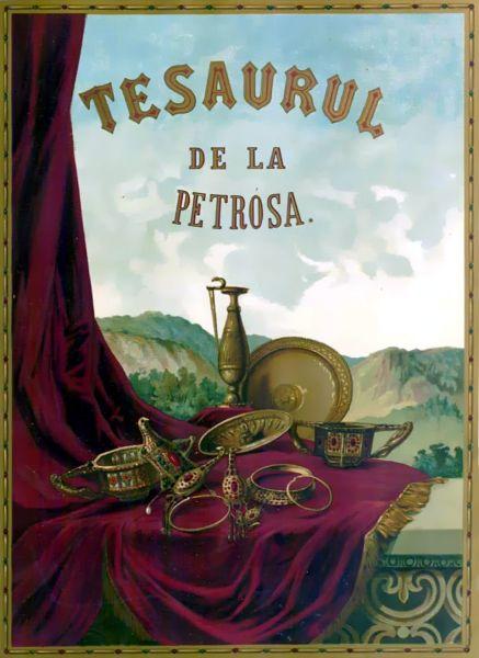 Tezaurul de la Pietroasele, (Cloșca cu puii de aur) restituit în 1956, este doar o mică parte din întregul tezaur al României. (Ilustrația realizată de Henric Trenk pentru coperta primului volum Le Trésor de Pétrossa publicat de Alexandru Odobescu în anul 1889) - foto preluat de pe ro.wikipedia.org