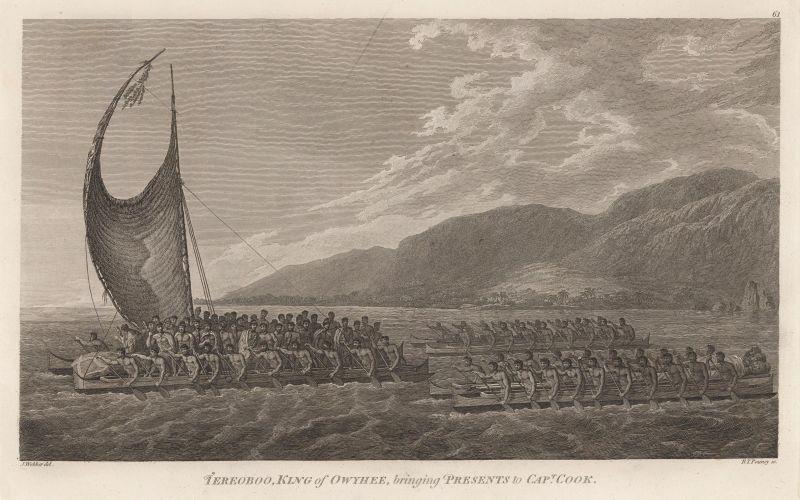 Kalaniʻōpuʻu, King of Hawaiʻi, brings presents to Captain Cook - foto preluat de pe en.wikipedia.org