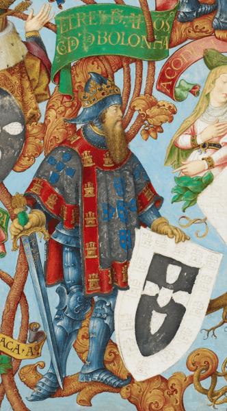 Afonso al III-lea, Rege al Portugaliei, supranumit Bolognezul, al cincilea rege al Portugaliei (n. 5 mai 1210 în Coimbra - d. 16 februarie 1279 în Alcobaça, Coimbra sau Lisabona), și primul care a folosit titlul de Rege de Portugalia și de Algarve, din 1249 - King Afonso in Genealogia dos Reis de Portugal (António de Holanda; 1530-1534) foto preluat de pe en.wikipedia.org
