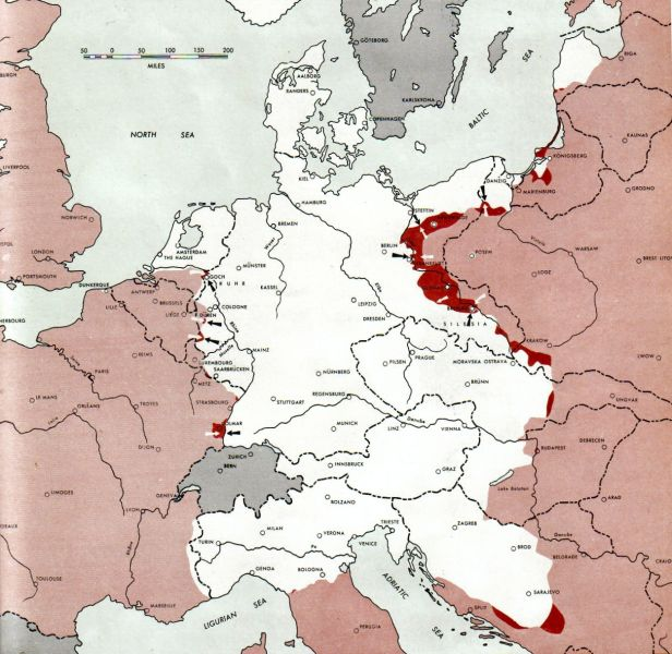 Conferința de la Ialta (4 - 11 februarie 1945) - Situația militară la sfârșitul conferinței - foto preluat de pe ro.wikipedia.org