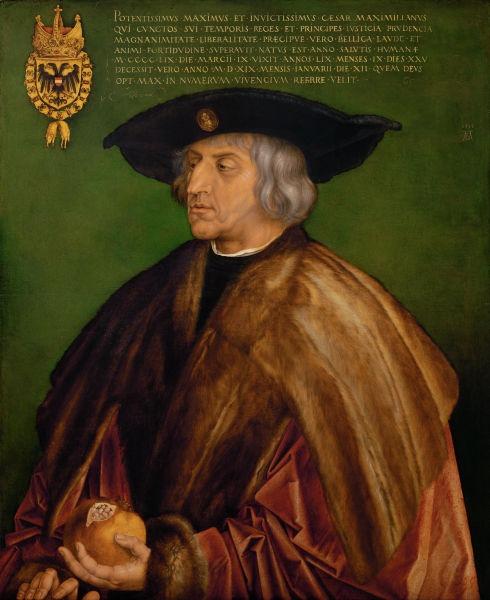 Maximilian I (n. 22 martie 1459 - d. 12 ianuarie 1519) a fost Împărat al Sfântului Imperiu Roman din 1508 până la moartea sa. A făcut parte din Casa de Habsburg - Portret de Albrecht Dürer, 1519 (Muzeul Kunsthistorisches, Viena) - foto preluat de pe ro.wikipedia.org
