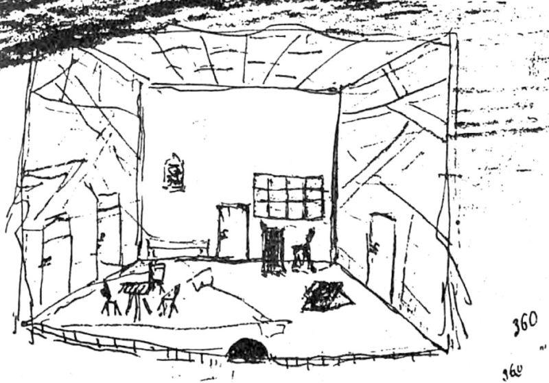 Decor pentru Năpasta, desenat de Caragiale, circa 1890, de pe manuscrisul dăruit lui Delavrancea - foto preluat de pe ro.wikipedia.org