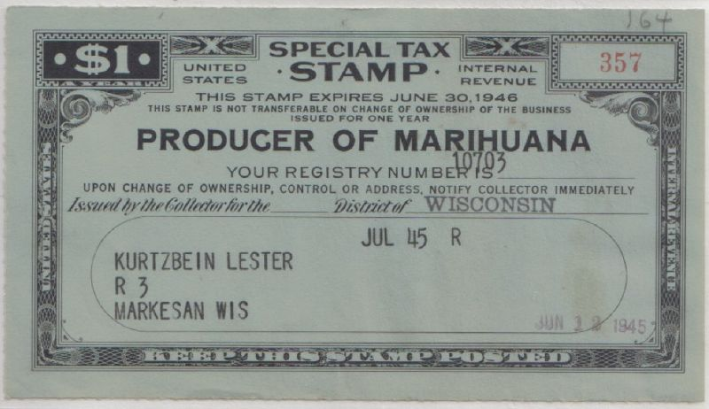 Tax stamp for a producer of hemp - foto preluat de pe en.wikipedia.org