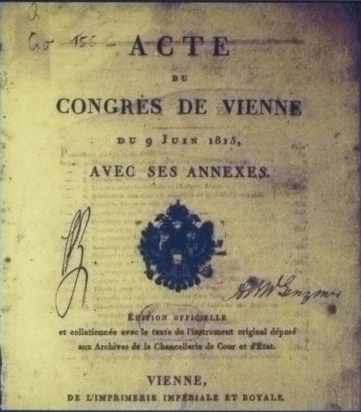 Frontispiece of the Acts of the Congress of Vienna - foto preluat de pe en.wikipedia.org