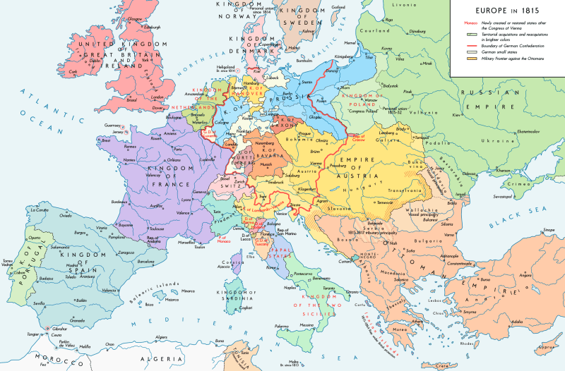 The national boundaries within Europe set by the Congress of Vienna - foto preluat de pe en.wikipedia.org