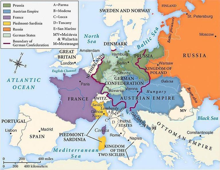 Europa dupǎ Congresul de la Viena - foto preluat de pe ro.wikipedia.org