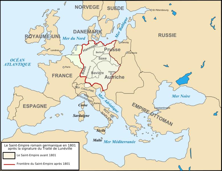 Europa dupa Pacea de la Lunéville (9 februarie 1801) - foto preluat de pe en.wikipedia.org