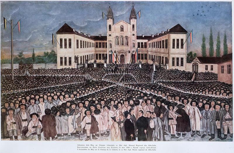 Stampă din 1848 reprezentând Adunarea de la Blaj, sub drapeluri ale Casei de Habsburg (negru-galben) și tricoloruri româneșt (Muzeul Unirii Alba Iulia) - foto preluat de pe ro.wikipedia.org