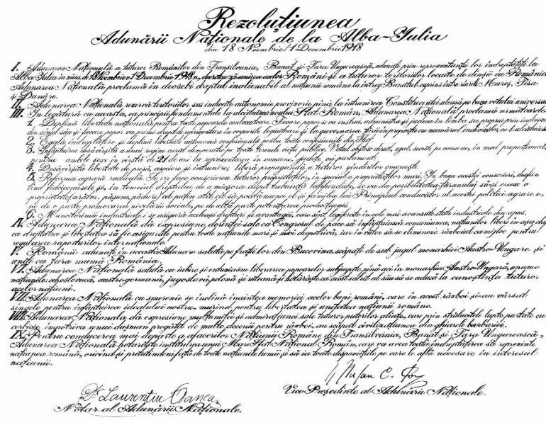 Rezolutiunea Adunarii Nationale de la Alba-Iulia (1 decembrie 1918) - foto preluat de pe ro.wikipedia.org