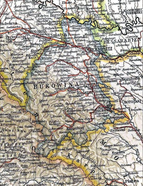 Harta Bucovinei din anul 1901 - foto preluat de pe ro.wikipedia.org