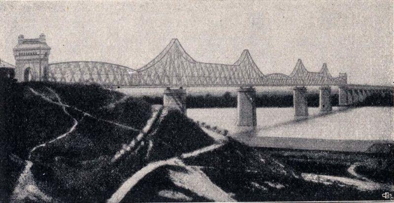 Podul Regele Carol I - Vedere asupra podului de la începutul secolului XX - foto preluat de pe ro.wikipedia.org