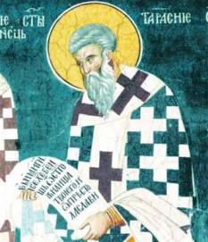 Cel întru sfinți părintele nostru Tarasie al Constantinopolului, (gr. Ταράσιος), a fost patriarh al Constantinopolului între anii 784-806. A acceptat tronul constantinopolitan cu condiția convocării unui Sinod Ecumenic care să tranșeze chestiunea cinstirii icoanelor. Prăznuirea lui se face pe 25 februarie - foto: crestinortodox.ro