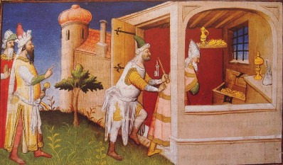 "Hulagu (left) imprisons Caliph Al-Musta'sim among his treasures to starve him to death. Medieval depiction from ""Le livre des merveilles"", 15th century - foto: en.wikipedia.org"