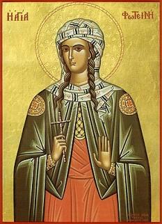 Sfânta Muceniță Fotini Samarineanca. Pomenirea sa de către Biserica Ortodoxă se face la data de 26 februarie - foto:  calendar-ortodox.ro