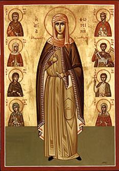 Sfânta Muceniță Fotini Samarineanca impreuna cu familia. Pomenirea lor de către Biserica Ortodoxă se face la data de 26 februarie - foto:  calendar-ortodox.ro