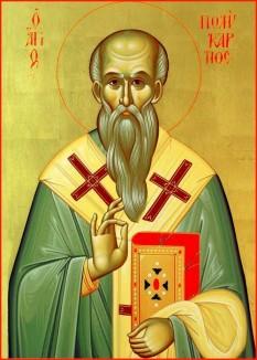 Sfântul, slăvitul și sfințitul mucenic Policarp a fost episcop al Smirnei și unul din Părinții apostolici. S-a născut între anii 69 și 81 d.Hr. și a mucenicit între anii 155 și 167. L-a cunoscut personal pe sfântul apostol și evanghelist Ioan. Prăznuirea lui se face la 23 februarie - foto: doxologia.ro