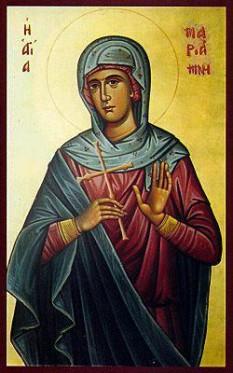"""Sfânta Cuvioasă Mariamna,  sora sfântului Apostol Filip (prăznuit la 14 noiembrie), unul din cei doisprezece Apostoli. După Învierea Domnului și trimiterea apostolilor la propovăduire în toată lumea, Mariamna a plecat împreună cu fratele ei și cu apostolul Bartolomeu (prăznuit la 11 iunie și 25 august) să propovăduiască Evanghelia la neamuri, și ajungând la Ierapole (Hierapolis) în Frigia au fost prinși de păgâni. Acolo apostolul Filip a fost dat la moarte în prezența sorei sale. Dar în urma unei minuni, păgânii i-au eliberat pe Bartolomeu și Mariamna. Apostolul Bartolomeu a plecat în India, iar Mariamna în Licaonia. După ce a predicat evanghelia în multe locuri și a adus pe mulți la credință și la botez, Mariamna și-a dat sufletul cu pace în mâinile lui Dumnezeu. Biserica a cinstit-o mai apoi cu titlul de """"egală cu apostolii"""", și îi face prăznuirea la data de 17 februarie - foto: doxologia.ro"""