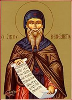 Preacuviosul părintele nostru Benedict al Nursiei (n. 480 d.Hr. - d. 543) este unul dintre întemeietorii monahismului în Europa Apuseană. A scris o rânduială monahală care este respectată până astăzi de ordinul călugărilor benedictini din Apus şi a fost sursă de inspiraţie pentru alte rânduieli monahale apusene. Este prăznuit la 14 martie - foto: crestinortodox.ro
