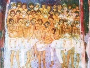 Sfinții 40 de mucenici din Sevastia au fost un grup de patruzeci de ostași romani care au pătimit în timpul persecuțiilor împotriva creștinilor, primind martiriul prin zdrobirea oaselor și apoi arderea trupurilor, în anul 320. Pomenirea celor 40 de Sfinți Mucenici în Biserica Ortodoxă se face la 9 martie - foto: crestinortodox.ro