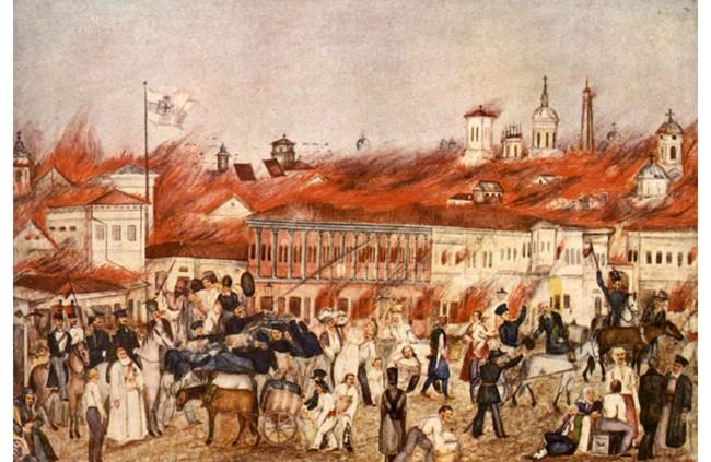 """""""Marele Foc"""", acuarelă de Mustacoff (23 martie 1847 - Un incendiu uriaș distruge 20% din orașul București) - foto preluat de pe ro.wikipedia.org"""