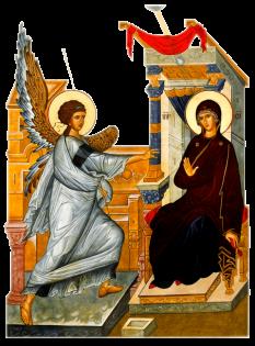 """Bunavestire (Buna Vestire sau Buna-Vestire) sau Blagoveștenia (gr. Evangelismos) către Maica Domnului este un Praznic Împărătesc al Bisericii Ortodoxe, sărbătorit la 25 martie. Aceasta este una din doar cele două zile în care este permis peștele în Postul Mare, cealaltă fiind Intrarea Domnului în Ierusalim (Floriile). În conformitate cu Evanghelia după Luca 1:26-38, Arhanghelul Gabriel îi apare Sfintei Fecioare și îi spune că va concepe și naște un fiu, chiar dacă ea """"nu a cunoscut bărbat"""". După sfânta tradiție, Maria avea doar cincisprezece ani când a fost vizitată de Gabriel. Această zi este exact la nouă luni înainte de Crăciun, fiind astfel aleasă de Părinții Bisericii ca să indice că Hristos a fost conceput într-o perioadă de timp perfectă """"din Duhul Sfânt și din Fecioara Maria"""", așa cum este precizat în Crezul Niceo-Constantinopolitan - foto: doxologia.ro"""