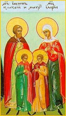 Sfinții Mucenici Claudiu împreună cu soţia sa Ilaria și fiii lor Iason şi Mavru.  Prăznuirea lor în Biserica Ortodoxă se face la 19 martie - foto: doxologia.ro