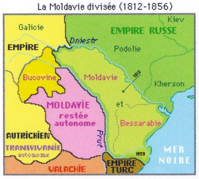 Moldova divizată în 3 părţi între Imperiile Otoman,Austriac şi Rus (1775-1812) - foto: istoria.md