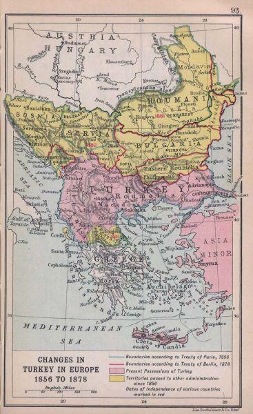 Pierderile teritoriale otomane (cu galben) - foto preluat de pe ro.wikipedia.org