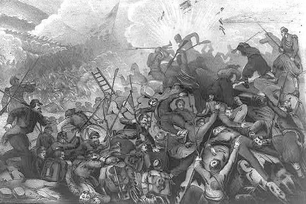 Războiul Crimeii (1853–1856) Asediul Sevastopolului - Zuavi francezi şi soldaţi ruşi în luptă corp la corp pe Curganul Malahov - foto preluat de pe ro.wikipedia.org