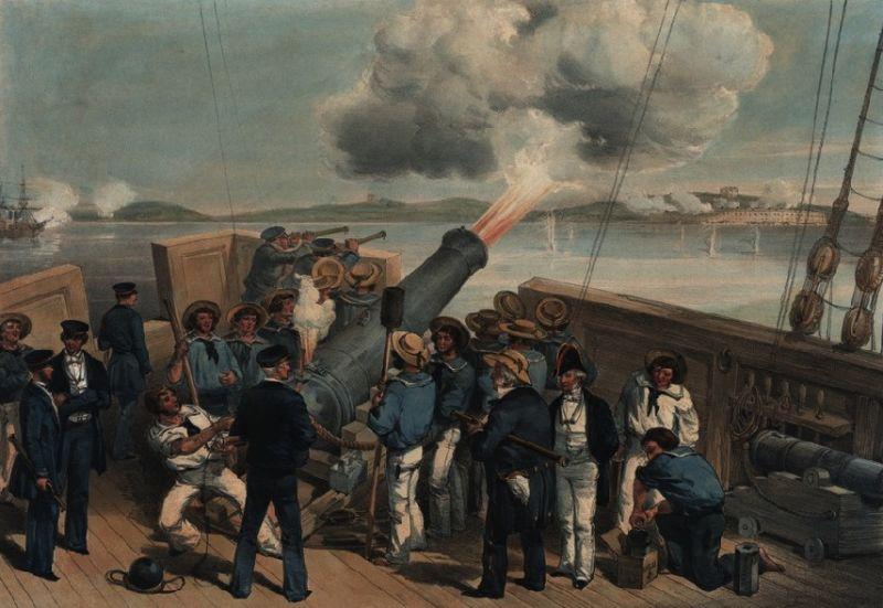 Războiul Crimeii (1853–1856) - Bombardment of Bomarsund during the Crimean War, after William Simpson - foto preluat de pe en.wikipedia.org