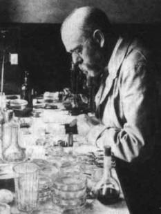 Robert Koch (n. 11 decembrie 1843, Clausthal, Saxonia Inferioară – d. 27 mai 1910, Baden-Baden) a fost un bacteriolog german. A studiat la Göttingen, avându-l ca profesor pe Jacob Henle care afirma în 1840 că rănile sunt infectate de niște organisme parazite - foto: cersipamantromanesc.wordpress.com