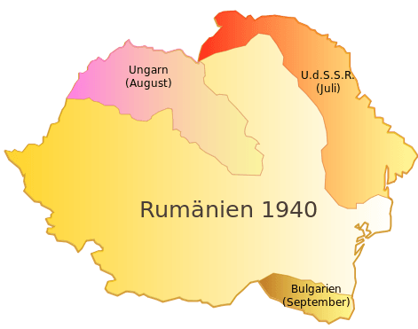 Romania in 1940 with Bessarabia and Northern Bukovina highlighted in orange-red - foto preluat de pe en.wikipedia.org