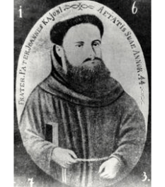 """Ioan Căianu (în maghiară Kájoni János, latinizat Ioannes Caioni) (n. 8 martie 1629, Căianu Mic - d. 25 aprilie 1687, Lăzarea) a fost un călugăr franciscan din Transilvania, primul autor român de muzică cultă, constructor și reparator de orgi, culegător de folclor, gânditor renascentist și precursor al iluminismului - in imagine, """"Fratele şi părintele Ioan Căianu la vârsta de 44 de ani"""" -  foto: cersipamantromanesc.wordpress.com"""
