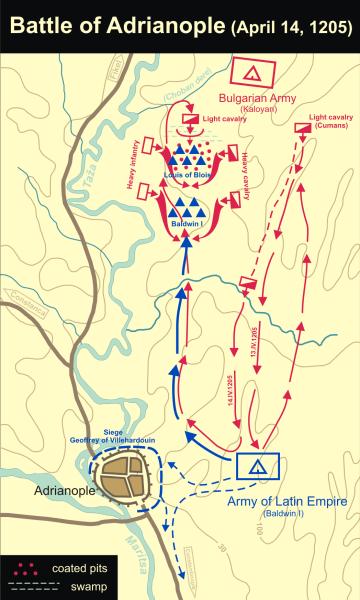 Bătălia de la Adrianople (14 aprilie 1205) dintre bulgari și cavalerii Crucii ai lui Balduin I de Constantinopol - foto preluat de pe en.wikipedia.org