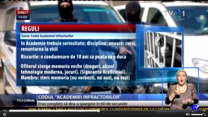 Codul 'Academiei Infractorilor' - foto (captura video) -  stiri.tvr.ro