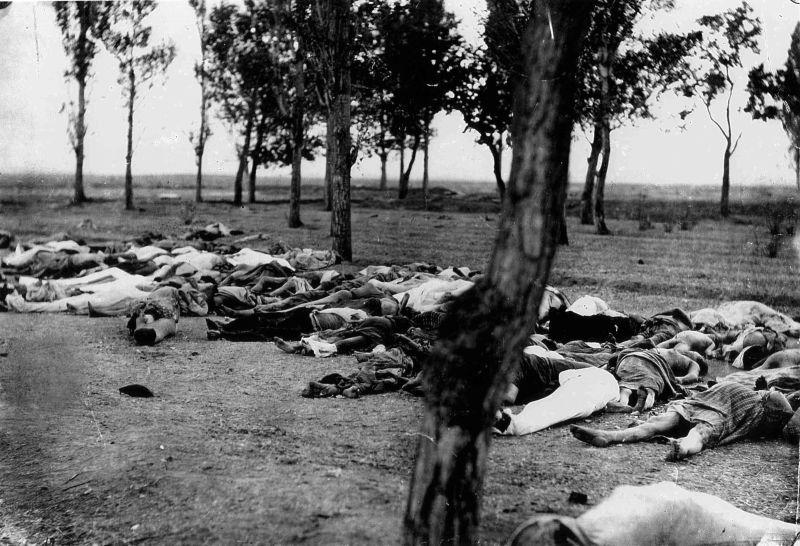 """Cadavre de Armeni: fotografie făcută de către Biserica Apostolică Armeană și transmisă lui Henry Morgenthau(d), în 1915, în apropiere de Ankara. Publicată în 1919 în Memoriile ambasadorului Morgenthau, ambasadorul american scria în legendă: """"Cei care au căzut pe drum. Scene similare erau fapt divers în toate provinciile armenești, în primăvara și în toamna lui 1915. Moartea în toate formele ei — masacre, foamete, epuizare — îi distrugea pe mare parte din refugiați. Politica turcă era exterminarea sub acoperirea deportării."""" - foto preluat de pe ro.wikipedia.org"""