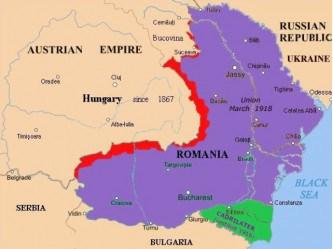 Harta cedărilor teritoriale ale României conform Păcii de la Paris (24 aprilie 1918 / 7 mai 1918), roşu către Austro-Ungaria, verde către Bulgaria sursă: ro.wikipedia.org
