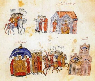 Armatele lui Krum (sus) şi Mihail I Rangabe (partea de jos), înainte de bătălia de la Versinikia (813) - foto: ro.wikipedia.org