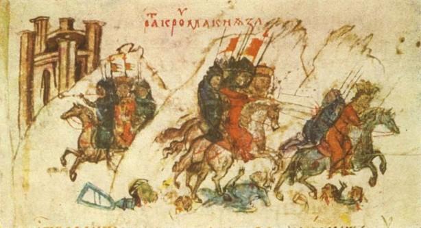 Miniatura 52-a din Cronica lui Constantin Manasses din sec. al XIV-lea: Armata lui Krum îl urmărește și îl rănește pe fiul și succesorul lui Nicefor I, Staurakios - foto: ro.wikipedia.org