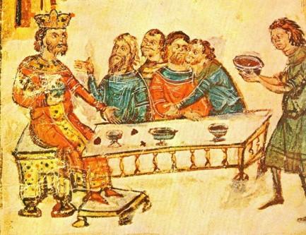 Krum, Han protobulgar în perioada: 796/803 - 814. În timpul domniei, sale teritoriul Bulgariei dunărene s-a dublat, având granițele de la Dunărea mijlocie la Nipru și de la Odrin la Munții Tatra - in imagine, Krum sărbătorește alături de nobilii săi, în timp ce un rob (în dreapta) îi aduce craniul împăratului Nicefor, încrustat cu argint și transformat într-o cupă plină cu vin - foto: ro.wikipedia.org